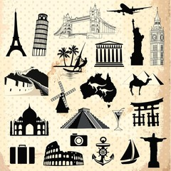 In de dag Doodle Collection of travel icons and symbols elements