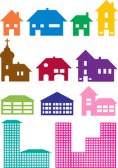set of various vector house icons
