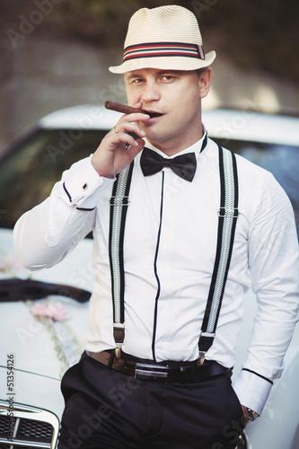 handsome man Groom at wedding at mob gangsta style italian