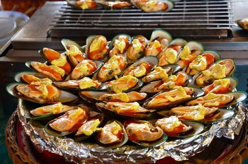 New Zealand mussels baked with butter.