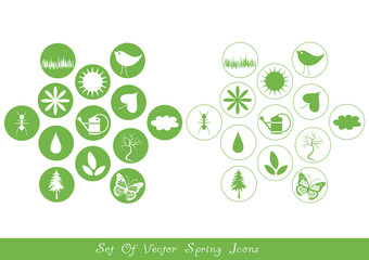 set of various spring icons
