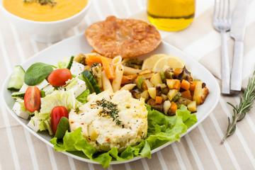 vegetarian dinner served