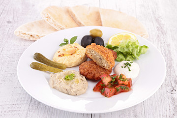 falafel, spread and salad