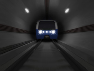 Modern Train going trough the Underground Tunnel