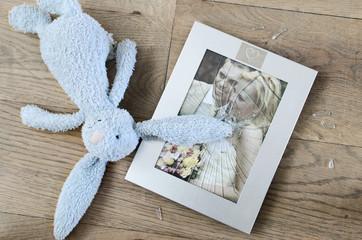 concept of divorce, broken photo frame marriage