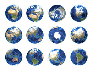 Planet earth, globe from different angles, furnished by NASA
