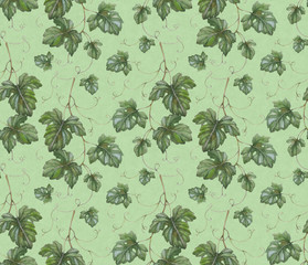 Seamless pattern with watercolor grape leaves