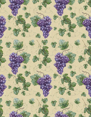 Seamless pattern with watercolor illustration of grapes with lea