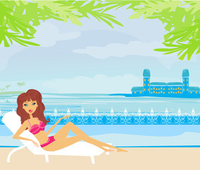 vector image of girl and tropical pool