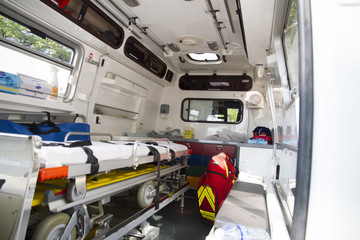Inside view of an ambulance