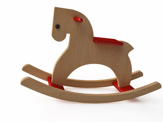 Handmade Vintage Wooden Rocking Horse in 3d