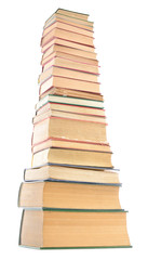 Distorted image of old books tower