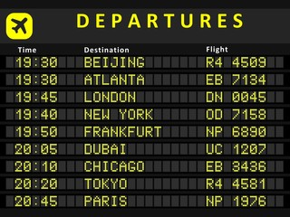 Departure board with flights to Beijing, Atlanta, London, Dubai