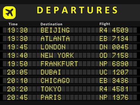 Departure board with flights to Beijing, Atlanta, London, Dubai