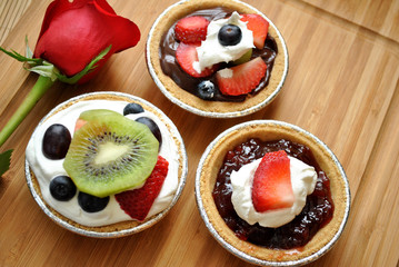 Mini Fruit Desserts with a Rose