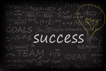 success concept on chalk board