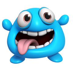 Wall Murals Sweet Monsters 3d cartoon crazy blue monster