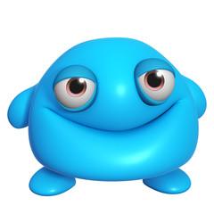 Spoed Fotobehang Sweet Monsters 3d cartoon cute blue monster