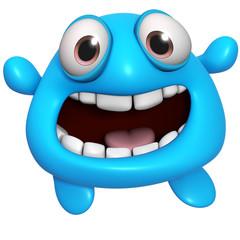 Papiers peints Doux monstres 3d cartoon cute blue monster