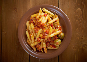 Italian Penne rigate pasta
