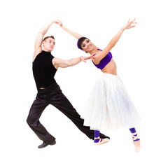 Full length of young ballet couple dancing