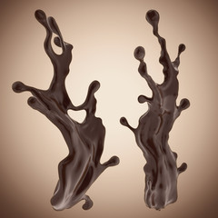 Wall Mural - set of 3d liquid chocolate splash elements isolated