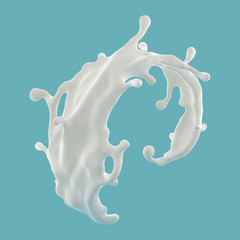 Wall Mural - 3d abstract liquid milk wave splash