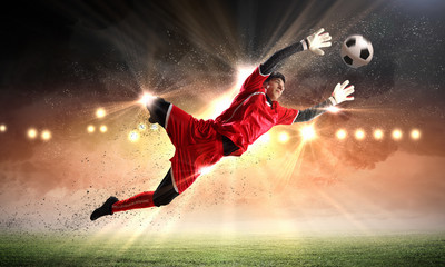 Poster de jardin Le football Goalkeeper catches the ball