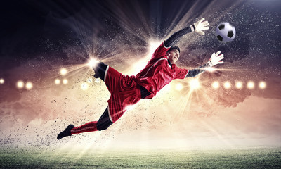Poster Soccer ball Goalkeeper catches the ball