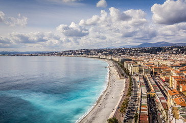 Printed roller blinds Nice Promenade des Anglais in Nice, France