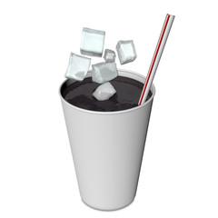 Refresco y cubitos de hielo