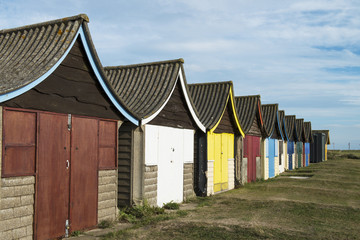 Beach Huts at Mablethorpe, Lincolnshire, UK.