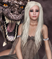 Canvas Prints Dragons Lady Dragon