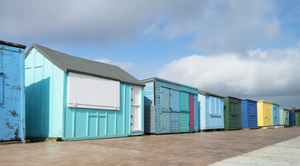 Colorful Beach Huts at The Duver, Isle of Wight, UK.