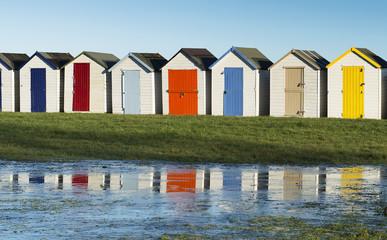 Colorful Beach Huts at Goodrington, Near Paignton, Devon, UK.