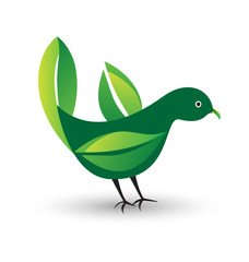 Bird with leafs as wings logo vector
