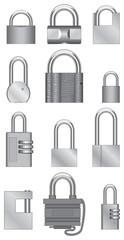 Image isolated padlocks of steel