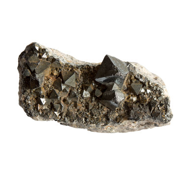 Magnetite crystals in the stone on white background