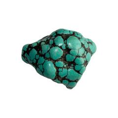 Turquoise stone on  white background