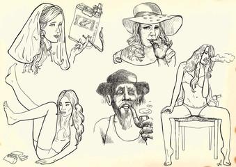 smokers - hand drawings into vectors