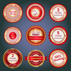Set of sale badges, labels and stickers in red