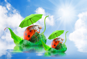 Photo sur Aluminium Coccinelles Two funny travelers going to holidays. Children's postcard.