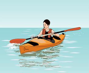 teenage boy floats on kayak