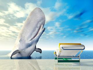 Urlaubsimpression mit Liegestuhl und weißem Wal