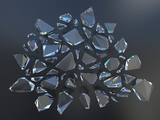 3d black abstract broken glass background