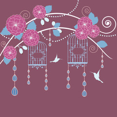 Printed roller blinds Birds in cages Abstract tree in blossom