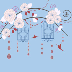 Printed roller blinds Birds in cages Springtime in garden