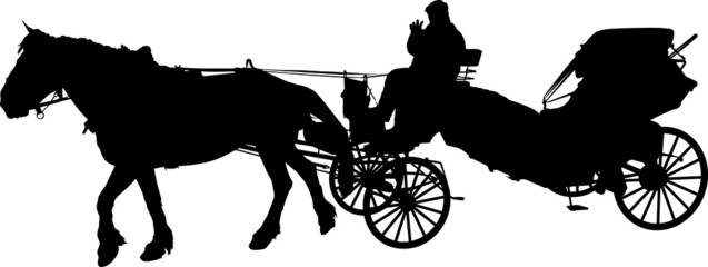 Foto op Plexiglas Art Studio Silhouette of a horse put to a cart