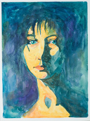 hand drawn illustration of beautiful serene woman