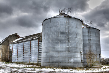farm outbuilding on a  stormy day